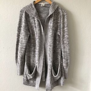 ROXY Marled Gray Hooded Duster Cardigan Sweater